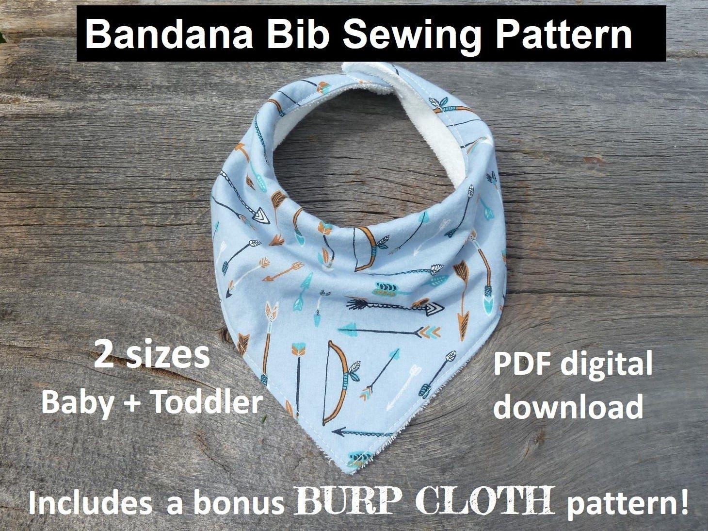 bandana bib sewing pattern, pdf bandana bib, bibdana ...
