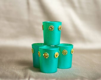 Tiffany blue candle votives with gold rhinestones