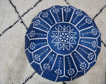 Handmade Navy leather pouf with white embroidery Pouf - Int'l Express shipping- Unfilled