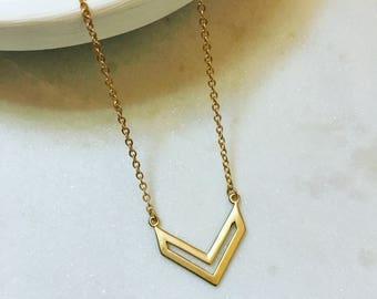 Chevron Brushed Gold Necklace