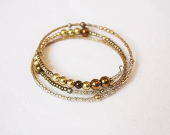 Gold and Silver Memory Wire Bracelet