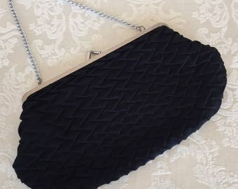 Vintage RFC/CFR Black Textured Evening Bag Purse Made in England