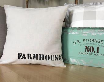 "Farmhouse | 18""x18"" | Drop Cloth | PILLOW COVER"