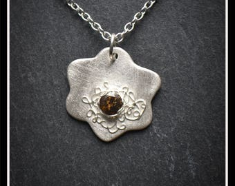 Detailed Flower CZ Pendant - Silver Precious Metal Clay (PMC), Handmade, Necklace  - (Product Code: ACM013-17)