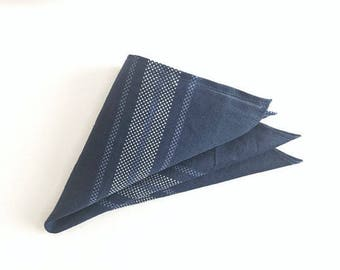 SALE 50percent OFF- Pocket Square: Navy Blue Pocket Square // Upcycled Pocket Square // Handkerchief // Groomsman Gifts