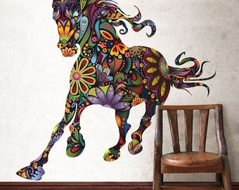 Multi-Color Flower Horse Wall Mural