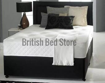 Black Leather Divan Bed with Mattress and Headboard