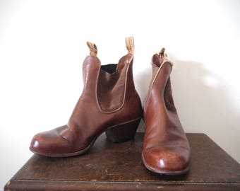 Brown Leather RM WILLIAMS Cuban Heeled 90s Chelsea Ankle Boots