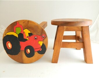 Childs Childrens Wooden Stool -  Red Tractor Step Stool.