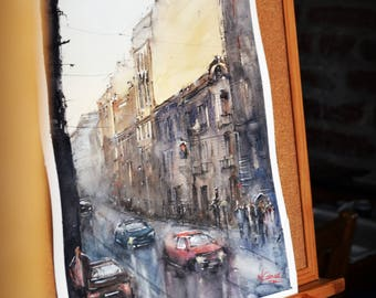 Rainy day Queen Elizabeth Boulevard, Bucharest Original Watercolor Painting 41*31cm
