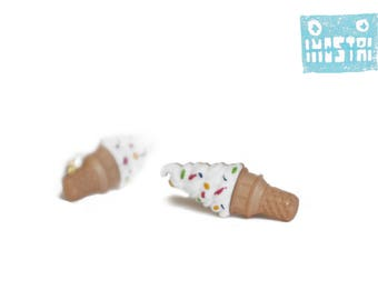 Stud earrings, earrings uk, ice cream earring, free shipping, sweet cones, earrings silver, vanilla, girly gifts, limited edition