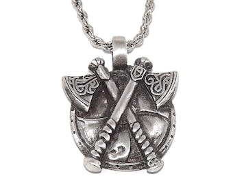 Viking Axe and Shield Pendant Necklace with Chain