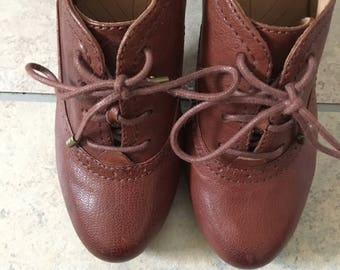 Clarks Brown Leather Oxford Heel Size 8W