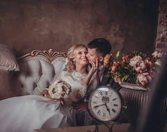 Wedding bouquet, brooch-bouquet, bridal bouquet, vintage bouquet, satin ribbons, bouquet from fabric, wedding accessories, boutonniere