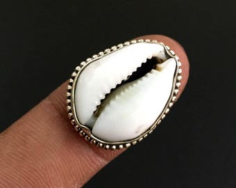 Cowrie Shell Ring, Handmade Ring, Silver Ring, Solid Sterling Silver, Hammered Ring, Cowrie Shell  Ring