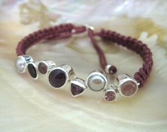 Bracelet macrame: ruby, pearl, tourmaline, garnet