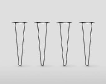 """1/2"""" HD 2 ROD Hairpin Legs,         Set of 4  Steel or Stainless Steel, , Mid Century Modern , DIY, Metal Table Legs, Hairpin legs"""