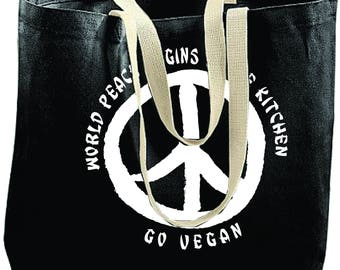 Printed Canvas TOTE BAG/ Go Vegan/World Peace/Reusable Bag/Farmers Market Tote Bag /Reusable Bag/ Beach Tote/ Groceries