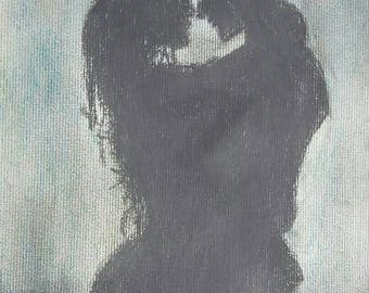 Charcoal Drawing of a ROMANTIC COUPLE: Original Art