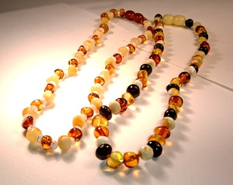 Baltic Amber Baby Teething Necklace Cherry Honey Baroque Beads with Pearl Imitation
