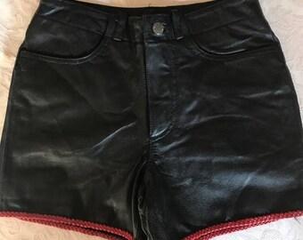Vintage leather biker shorts