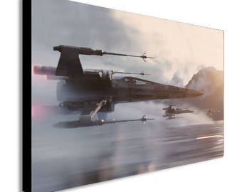 X Wing Over Water Star Wars Canvas Wall Art Print - Various Sizes