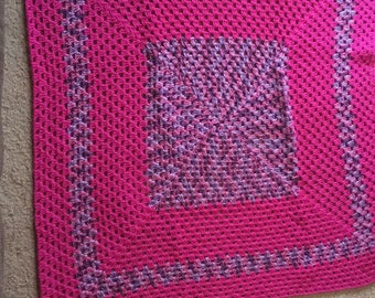 Hot pink and multicolor purple crochet afghan!