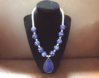 Necklace handmade blue white statement piece with pendant women's fashion piece