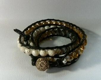 Beautiful handmade 3 wrap bracelet