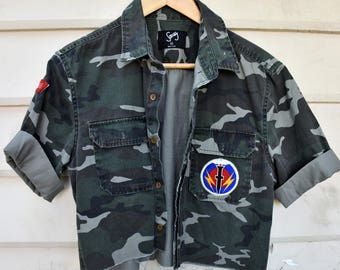 Camo Jacket, custom Camo jacket with badges.