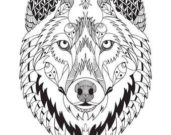 Wolf Mandala SVG