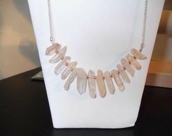 Rose quartz necklace, raw rose quartz, raw crystal necklace, raw stone necklace, healing crystal necklace