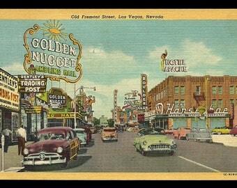 Las Vegas Nevada Postcard 1956 Golden Nugget Hotel Apache Signage Old Fremont St  NV PC