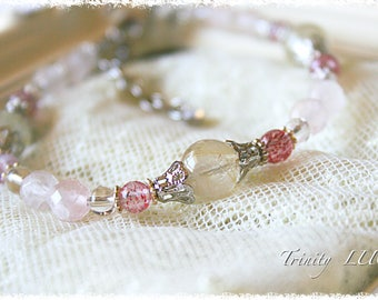 Rutile and Lotto and Rose Quartz bracelet