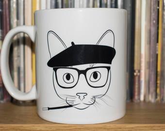 Beatnik Cat Mug, Cat Mug, Hepcat Mug, Miles Davis, Duke Ellington, Cartoon mug, Funny mug, Jazz mug, Retro Mug, Vintage Mug, Funny Mug,