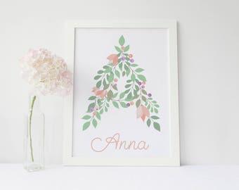 Nursery Wall Art - Printable monogram letter - Custom Nursery Letter - Monogram Art-  printable flower nursery initials - Digital Wall Art