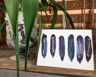 Hand painted greeting cards - cool color mix