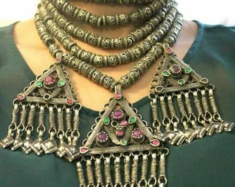 Ethnic Tribal gypsy layered afghan vintage Necklace
