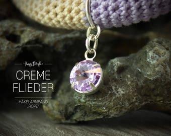 Crochet bracelet with Rhinestone pendant - Jersey fabric - cream / lilac