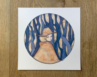 Original Watercolour Illustration - Art Print Woods Wanderer