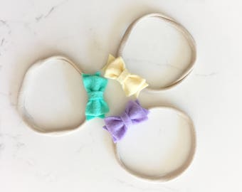 Felt bow headband | newborn headband | newborn photo prop | felt bows