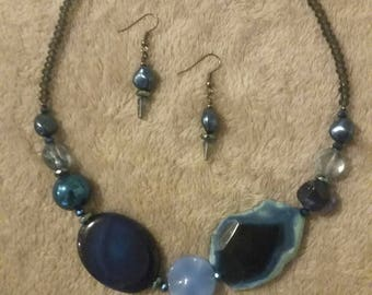 Asymmetrical Blue Necklace and Earring Set