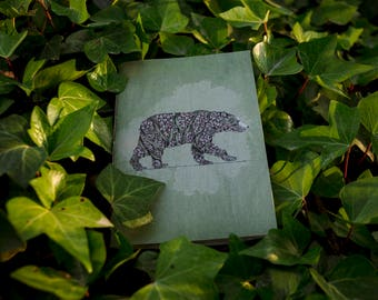 Book Green 'Bear Ivy' side. Hand made.