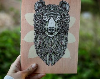 Notebook Beige pink 'bear Ivy' front. Hand made.