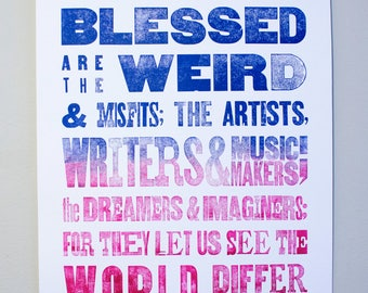 Blue to Magenta Fade Letterpress Poster