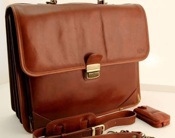 Handmade Luxury Italian Genuine Leather Briefcase Brown