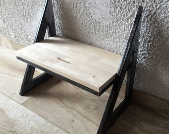 Small shoe rack, bedside table, Bookshelf or steel with wood shelf in the industrial design