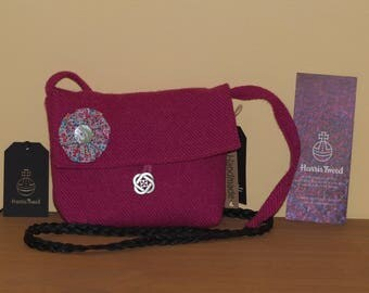 "Handmade Harris Tweed cross body handbag with Liberty of London ""Phoebe"" cotton lining and detachable brooch"