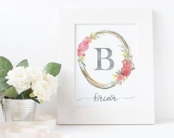 Custom - Watercolor Nursery Monogram - Vintage Floral Wreath - Handlettered -  Digital Print