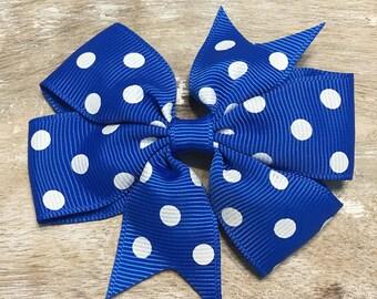 Royal Blue and White Polka Dot Grosgrain Ribbon Bow, Alligator Clip, Barrette, 3 inches wide, Hair bow, Girls